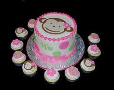 Girls Monkey theme cake and cupcakes