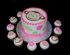 Girls Monkey theme cake and cupcakes