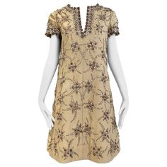 1960s Malcolm Starr coffee cream silk shantung dress with rhinestones  | From a collection of rare vintage day dresses at https://www.1stdibs.com/fashion/clothing/day-dresses/
