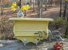 Canary yellow 2 hook wall shelf by patscraftingagain on Etsy, $68.00