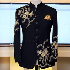 """Your Style Should Match Your Ambition""  Black Embellished Prince Coat in Luxury Fabric Exclusively Available for #Customized orders at #Uomo #Attire #Bespoke #MTM #CustomMade #Madetomeasure #Mens #Suit #Sherwani #PrinceCoat #Tuxedo #Menswear #style #fashion #Sherwanidesign #Luxury #Wedding #Waistcoat #Groom"