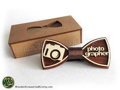 Wood bow tie Photographer wooden unisex by WoodenAccessoriesRU