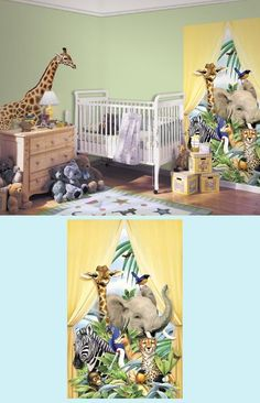 Jungle Animals Canopy Peel And Stick Wall Mural   Wall Sticker Outlet