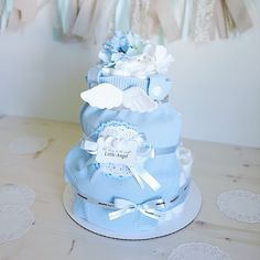 Angel Wings Diaper Cake For Baby Boy / Baby Shower Centerpiece Decoration / Baby  Shower Unique