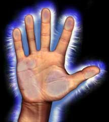 Kirlian Photography of the Human Hand--- Biological life with its infinite wonders and abilities only functions within a framework of certain fractal golden ratio geometries.