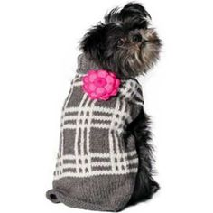 Want your dog to wear a piece of art? The Handmade - Girly Grey Plaid with Flower Dog Sweater is not machine made but handmade by the Inca Artisans in South Ame Small Dog Sweaters, Small Dog Clothes, Pet Clothes, Chilly Dogs, Pet Dogs, Pets, Doggies, Knit Dog Sweater, Puppy Care