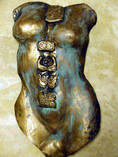 Mayan Sun Moon Venus by Tammy Vitale hand/slab built clay torso, tammyvitale.com