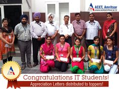 Appreciation letters were given to students of #BTech (IT department) for their outstanding performance in regular examinations (May 2015) by Dr. V.K. Banga (Principal).