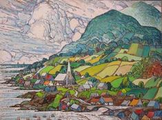 La grande valee (Big Valley) by Marc-Aurele Fortin - from Sainte-Rose, Laval, just north of Montreal Canadian Painters, Canadian Artists, Art And Illustration, Art Populaire, Inspiration Art, Naive Art, Painting Patterns, Quilt Patterns, Rug Hooking