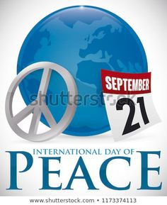 Button with Earth planet silhouette inside of it, silver peace symbol and loose-leaf calendar with reminder date for International Day of Peace: September. International Day Of Peace, Planets, Calendar, September, Royalty Free Stock Photos, 21st, Earth, Silhouette, Buttons