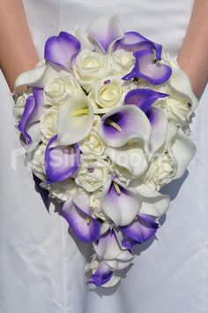 Beautiful Artificial Ivory Rose and Purple Vermeer Calla Lily Teardrop Bridal Bouquet #artificial #wedding #flowers #bridal #bouquet #ivory #purple #vermeer #picasso #lilies #teardrop
