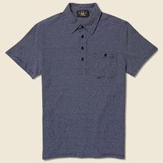 RRL Indigo Stripe Cotton Polo - Indigo/Greige - Medium