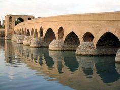 Shahrestan Bridge, Iran. This is one of the oldest bridges in Iran, built in the 14th century.