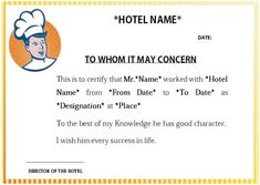 Hotel Cook Experience Certificate Sample Certificate Format, Certificate Templates, Card Templates, Graphic Design Cv, Resume Design, Chef Experience, Indian Flag Images, Biodata Format, Chef Work