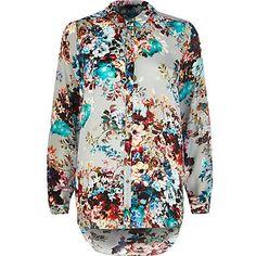 Grey floral print shirt £38.00
