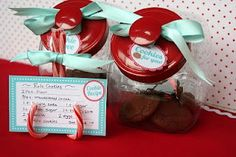 What a grand idea...candy canes as recipe card holders for a cookie exchange party....or even better yet place cards at your holiday table...too creative...cute and inexpensive....
