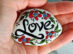 Love is (Always) the Answer / Painted Rock/ Sandi Pike Foundas / Cape Cod Sea Stone