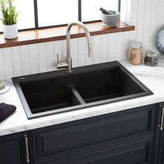 33 Algren Double-Bowl Drop-In Granite Composite Sink - Black - Kitchen 249175791871587449 Drop In Kitchen Sink, Drop In Sink, Ikea Kitchen, Kitchen Decor, Kitchen Ideas, Black Kitchen Sinks, Kitchen Cabinets, Best Kitchen Sinks, Bronze Kitchen