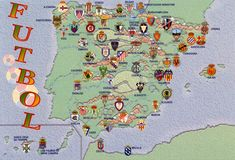 An unusual map of Spain showing the principal football teams with a stamp carrying a useful warning about a useful object. Watch Football, Football Team, 2002 World Cup, Map Of Spain, Spain Football, European Soccer, Spanish Culture, Kids Soccer, Father And Son