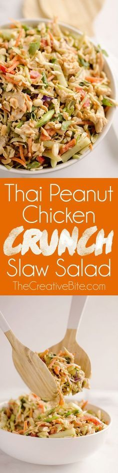 Thai Peanut Chicken Crunch Slaw Salad is an easy & healthy 20 minute salad loaded with fresh vegetables, flavor and crunch for a hearty lunch or dinner! Thai Peanut Chicken Crunch Slaw Salad is an easy & healthy 20 minute salad loade. Dairy Free Salads, Dairy Free Dinners, Asian Recipes, Healthy Recipes, Thai Food Recipes Easy, Salad Recipes Low Carb, Carrot Salad Recipes, Fresh Salad Recipes, Vegan Keto Recipes