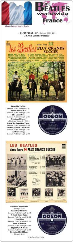 The Beatles France LP Odeon OSX 231 Les Beatles Dans Leurs 14 Plus Grands Succèss Vinyl Record Long Play Discography