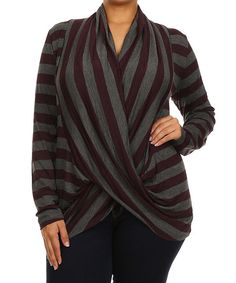 Love this Plum & Charcoal Stripe Drape Top - Plus by J-Mode USA Los Angeles on #zulily! #zulilyfinds
