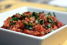 Spicy Eggplant Caponata This Recipe is :  Vegan Serves 6 as an appetizer Ingredients      1 1/2 pounds eggplant (1 large)     3 tab...  #caponata #sicilianrecipes #sicilia #sicily