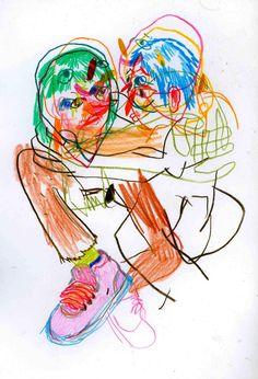 (neverbrushmyteeth: hugging really close and tight. Kunst Inspo, Art Inspo, Art And Illustration, Illustrations, Art Hoe, Psychedelic Art, Grafik Design, Art Plastique, Art Sketchbook