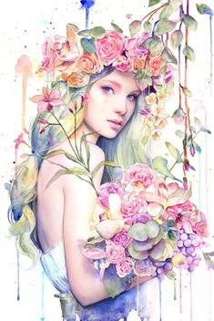 Laovaan の Watercolor Portraits and Watercolor Portraits, Watercolor Paintings, L'art Du Portrait, Art Mignon, Art Et Illustration, Girl Illustrations, Arte Pop, Face Art, Oeuvre D'art