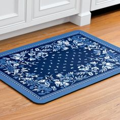 Blue and White ~ Provence Cushioned Kitchen Mat Kitchen Rug, Rustic Kitchen, Kitchen Decor, Kitchen Ideas, Messy Kitchen, Kitchen Interior, Kitchen Sink, Kitchen Cabinets, French Country Bedrooms