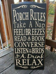 Cottage Charm ~ Black and Brown ~ Bed & Breakfast ~ Porch Rules