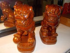 Mid Century Glossy Hollywood Regency Foo Dogs by JasperKaneDesigns, $139.00   painted gold or turquoise