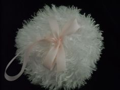 Shaggy-Body-powder-puff-super-soft-3-inches-with-pink-loop-ribbon-and-bow