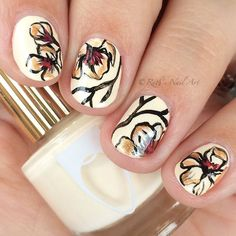 "Florals over ""Biscuits"" by Floss Gloss. #nailart #ruthsnailart"
