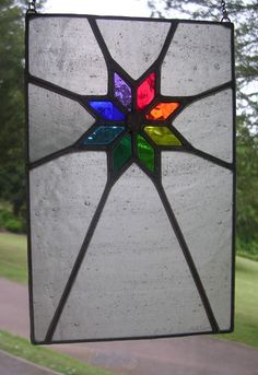 Starshine! Rainbow & Ice White Stained Glass Panel Window - pewtermoonsilver