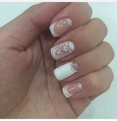 today we are here sharing and talking about the lace nail art ideas. Lace Nail Design, Lace Nail Art, Lace Nails, Nail Art Designs, Glitter Gel Nails, Nail Manicure, Sparkle Nails, Henna Nails, Bridal Nail Art