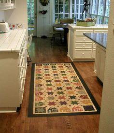 House n Star Floorcloth   #floorcloth #canvas-rug #floor-cloth #home-decor #historic
