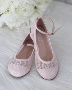 6ba7fbc24ac0 ROSE GOLD Rock Glitter Ballet Flats with Velcro Ankle Strap - Flower ...