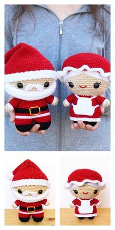Crochet Christmas Decorations, Christmas Crochet Patterns, Holiday Crochet, Christmas Knitting, Crochet Amigurumi Free Patterns, Free Crochet, Crochet Santa, Crochet Abbreviations, Crochet Projects