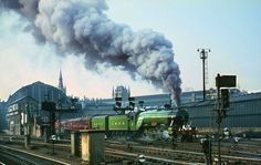 Flying Scotsman departs Kings Cross on her special on Note the railwayman taking what looks like a box brownie type photograph! Flying Scotsman, Work Train, Rail Transport, Steam Railway, History Images, British Rail, Train Engines, Rolling Stock, Steam Engine