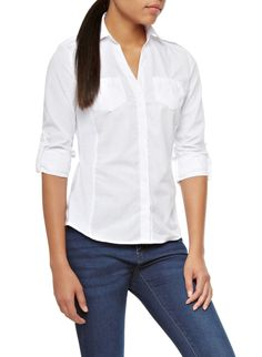 Button Up Shirt With Tonal Rib Knit Side Panels,WHITE