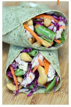 Chicken cashew crunch wrap tastes better from scratch. Healthy Snacks, Healthy Eating, Healthy Recipes, Bbq Chicken Wraps, Crunch Wrap, Protein Lunch, Veggie Wraps, Cashew Chicken, Grilled Chicken