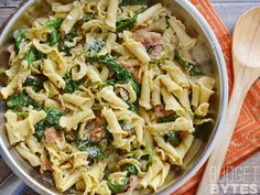 Bacon and Spinach Pasta with Parmesan is a quick weeknight dinner that only requires a few ingredients. BudgetBytes.com