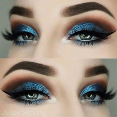 Makeup Looks Cut Crease Eyebrows 21 New Ideas - Prom Makeup Black Girl Eye Makeup Glitter, Blue Eye Makeup, Smokey Eye Makeup, Glitter Pigment, Blue Eye Shadow, Blue Smokey Eye, Orange Makeup, Pink Makeup, Eye Makeup Steps