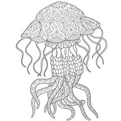 Zentangle stylized cartoon jellyfish, isolated on white background. Hand drawn sketch for adult antistress coloring page, T-shirt emblem, logo or tattoo with doodle, zentangle, floral design elements.