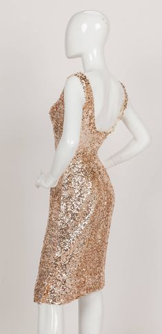1950s Ceil Chapman Sequined Sleeveless Cocktail Dress