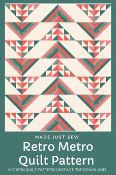 A modern quilt pattern, the Retro Metro Quilt is a combination of half square triangles and stripe blocks which results in a modern and clean quilt design. Use your favourite solids or mix it up with prints and develop your own unique version. Quilting Tutorials, Quilting Ideas, Quilting Projects, Quilting Designs, Half Square Triangle Quilts, Modern Quilt Patterns, Quilt Design, Flying Geese, Pattern Making