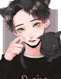 Boy Cat, Anime Art, Cats, Artwork, Anime Boys, Play, Gatos, Work Of Art, Auguste Rodin Artwork