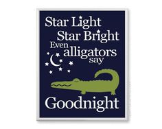 Alligator Nursery Decor, Navy and Green Pottery Barn Alligator Madras Inspired, Boys Wall Art, 11x14 Bedtime Nursery Art