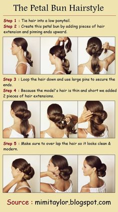 How To Do a Petal Bun Tutorial . I won't need extensions because my hair is so thick and long:) Down Hairstyles, Pretty Hairstyles, Wedding Hairstyles, Coiffure Hair, Natural Hair Styles, Long Hair Styles, Looks Chic, Tips Belleza, Great Hair